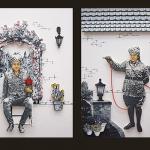 Aab-o-Gul (Diptych), 2012, Digital print, gouache and mix-media on Wasli, 32 x 36 cm (each painting size)