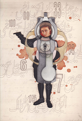 Goli Maro, 2009, Gouache, watercolor and gold paint on layered Wasli, 13 x 9 inches