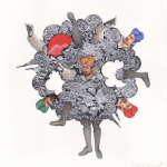 Fair Game, 2009, Gouache, watercolor and silver leaf on Wasli, 7 x 7 inches
