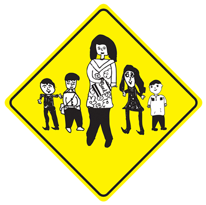 School Sign, composite of students drawings