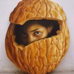 Self Portrait, 2007, Oil on Lasani wood, 2 x 2.5 feet