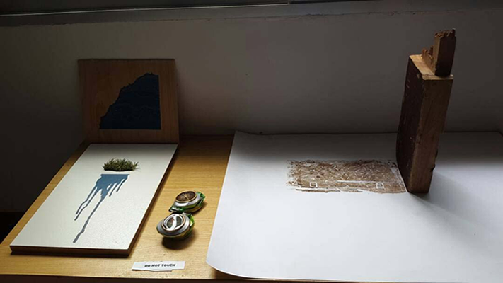 Work on display, Wood block print, painted compass and painting