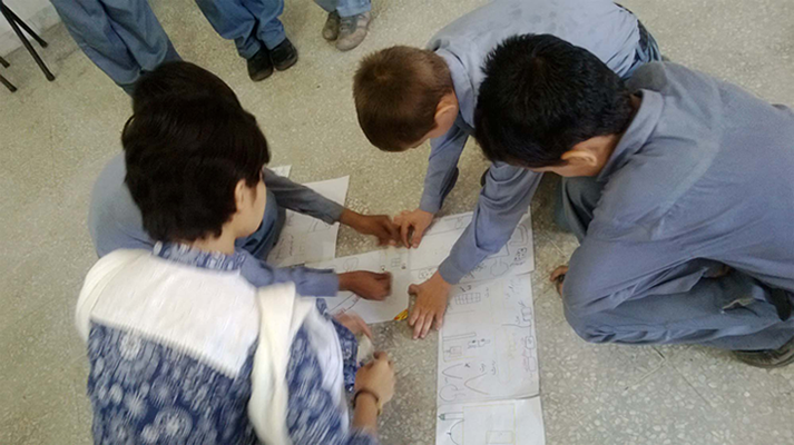Map drawing activity with Behbod boys