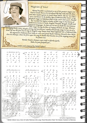 Introduction page of Travelogue, song lyrics and singer biography, manual and digital illustration