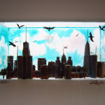 Detail of city horizon in light box