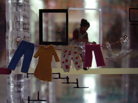 Detail of see-through Miniature Building model, Plexi glass and mix-media, Variable