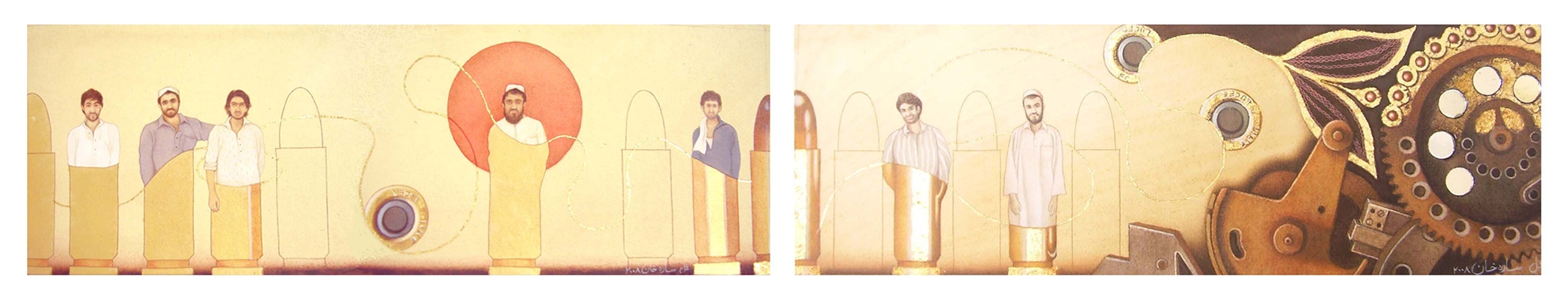 Kar-Khana (Diptych), 2008, Gouache, transparent watercolor and gold leaf on Wasli, 3.5 x 12 inches (each painting size)