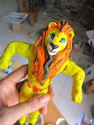 Completed Lion character of Blue house