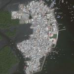 Bhit Island's satellite view, panaflex print, 4.5 x 5 feet