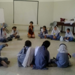 In class discussion with Girls at Behbod school, Karachi