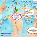 Karachi then and now, fold out Map, manual and digital illustration