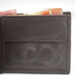 Detail of open Leather wallet